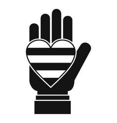 Hand holding heart of lgbt icon simple style vector