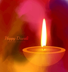 Hindu festival diwali diya on colorful ink paint vector