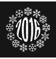 Inscription 2016 in the ring of snowflakes vector image