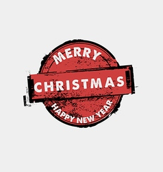 Merry Christmas and happy new year stamp vector image
