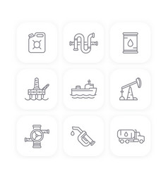 petroleum industry line icons oil gas production vector image