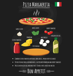 pizza margherita on chalkboard recipe poster vector image vector image
