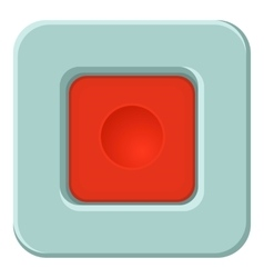 Red square button icon cartoon style vector image