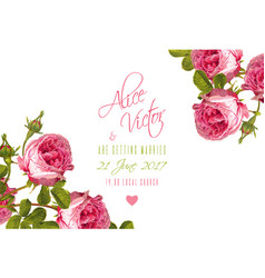rose wedding invitation vector image vector image