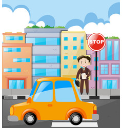 scene with man and car on the road vector image