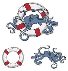 Set of color images of octopus in the lifeline vector