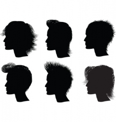 silhouette men hairstyle vector image vector image