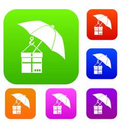 umbrella and a cardboard box set collection vector image