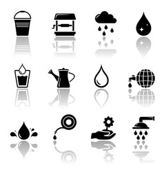 Water icon set with reflection vector