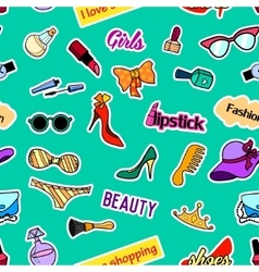 Seamless pattern with patch badges pop art vector