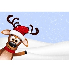 Funny reindeer on winter background vector