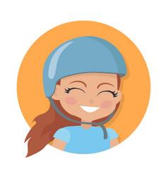 Smiling girl in blue helmet simple cartoon style vector