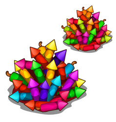 Set of multi-colored fireworks and firecrackers vector