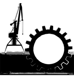 Background with port crane vector