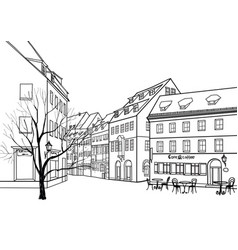 Street cafe old city view european cityscape vector