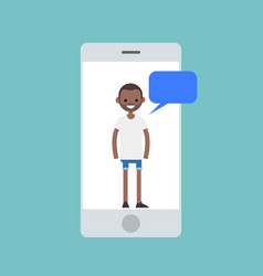 Mobile concept young black man chatting on the vector