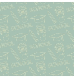 School seamless pattern on a green background vector image