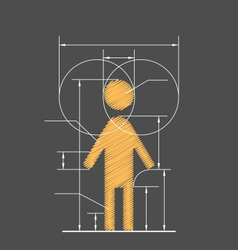 Drawing symbolized human resource isolated on gray vector