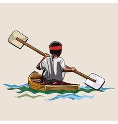 Man in a canoe with paddle bilateral vector
