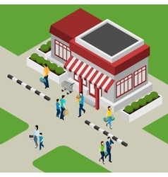 Shop building and customers vector