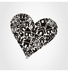 Heart made of houses vector