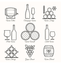 Wine line icons vector