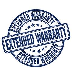 Extended warranty blue grunge round vintage rubber vector