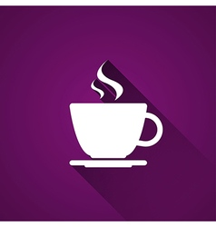 Cup of coffee on purple background vector