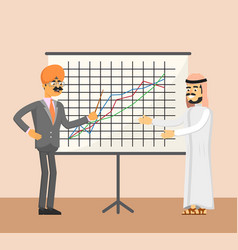 Arabian and indian businessman near whiteboard vector