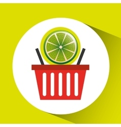 Basket market citrus lemon icon design vector