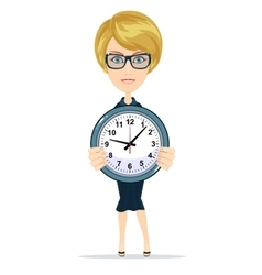 businesswoman holding the clock vector image