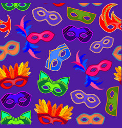 cartoon carnival mask background pattern vector image vector image