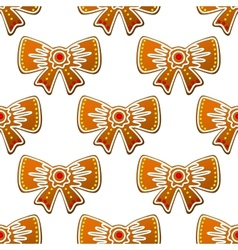 Christmas gingerbread bows seamless pattern vector image vector image