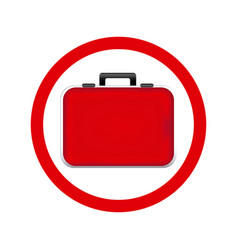 Circular frame red firts aid kit and handle vector