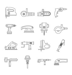 electric tools icons set outline style vector image