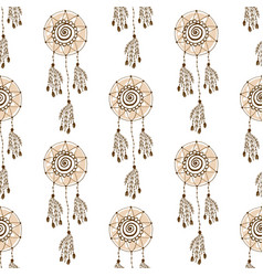 Ethnic background with dream catcher seamless vector
