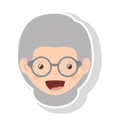 Front face elderly woman with glasses vector
