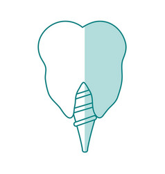 Green shading silhouette cartoon dental implant vector