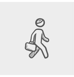 Man walking with briefcase sketch icon vector