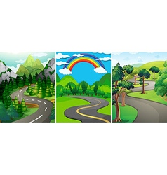 Nature scene with street and forest vector image vector image