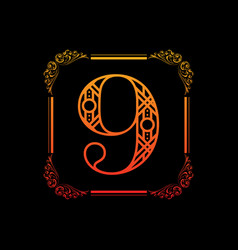 Number 9 with ornament vector