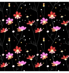 Pink flowers seamless pattern on black background vector image