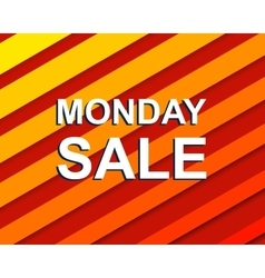 Red striped sale poster with monday sale text vector