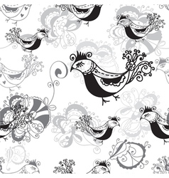 Seamless pattern with birds black and white vector image vector image