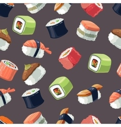 Seamless Pattern with picture set of Sushi vector image vector image