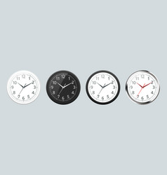 set of realistic classic black white and silver vector image vector image
