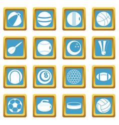 sport balls icons azure vector image vector image