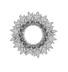 Vintage round frame sun zentagle style vector