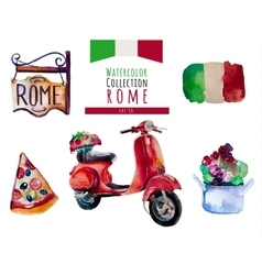 Watercolor Italy Rome set hand draw vector image vector image