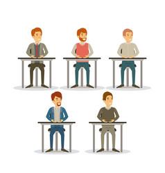 White background set men sitting on desk business vector